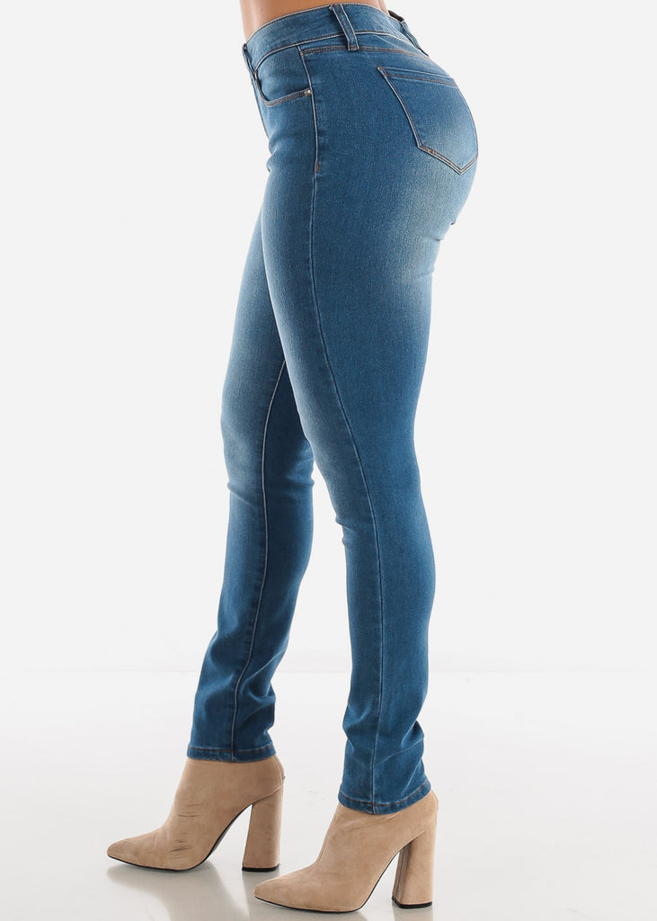 Mid Rise Med Wash Skinny Jeans
