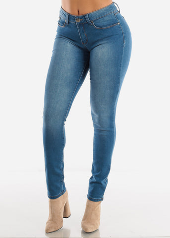 Image of Mid Rise Med Wash Skinny Jeans