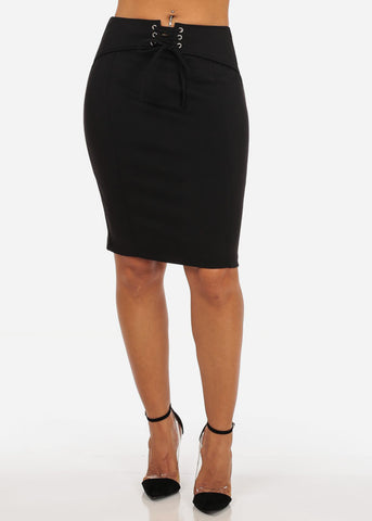 Women's Sexy Office Business Wear Clubwear High Waisted Lace Up Belt Attached Stretchy Pencil Midi Black Skirt