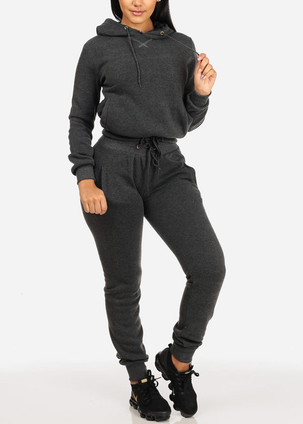 High Waisted Drawstring Jogger Pants (Charcoal)