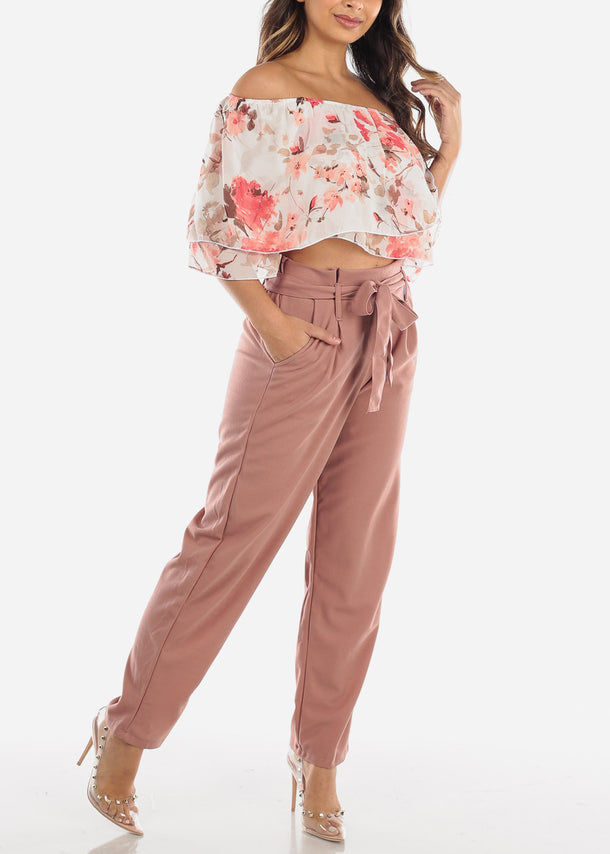 High Waist Straight Mauve Pants with Belt
