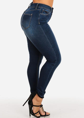 Image of High Waisted Dark Wash Skinny Jeans