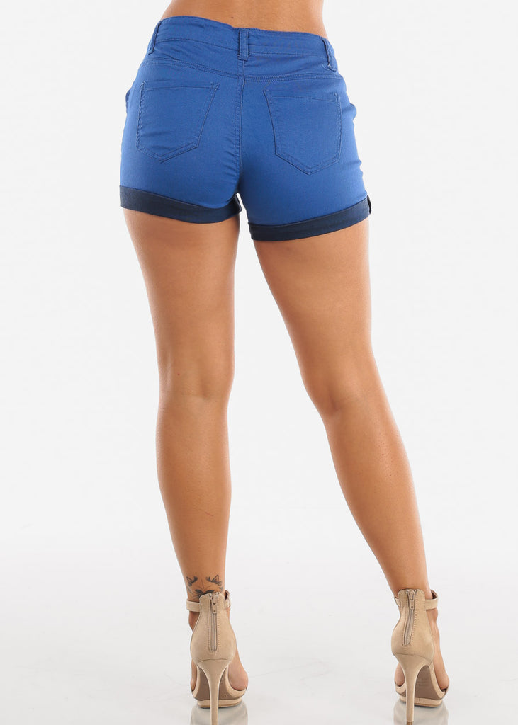 Trendy Lace Up Blue Shorts