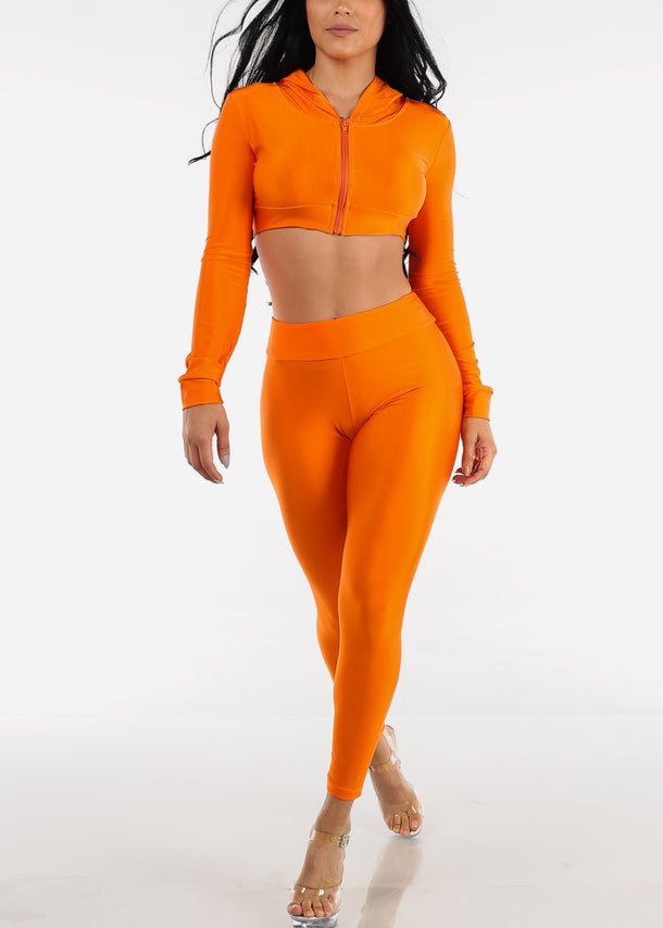 Neon Orange Satin Crop Hoodie & Pants (2 PCE SET)