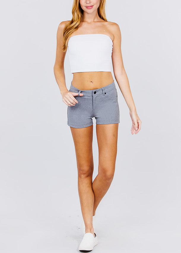 Grey Mid Rise Stretchy Shorts