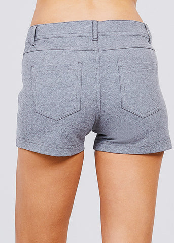 Image of Grey Mid Rise Stretchy Shorts