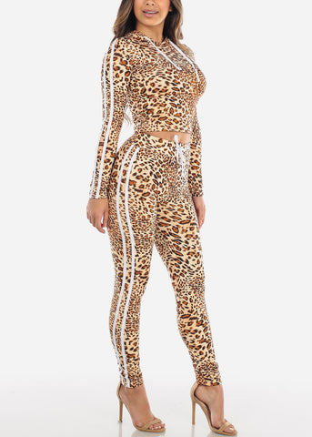 Image of Beige Animal Print Top & Pants (2 PCE SET)