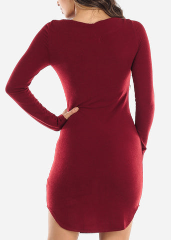Image of Casual Red Boat Neckline Dress