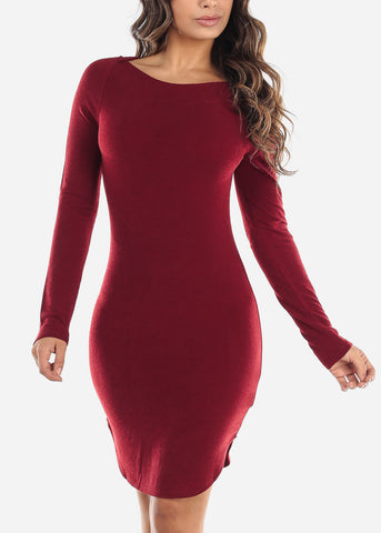 Casual Red Boat Neckline Dress