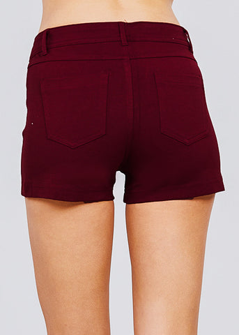 Image of Brick Mid Rise Stretchy Shorts