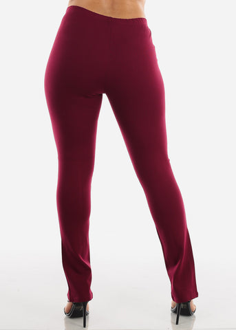 Front Slit Hem Detail Burgundy Pants