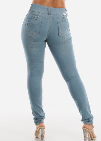 Light Wash Butt Lifting Denim Skinny Jeans