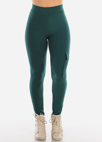 High Waisted Activewear Cargo Style Workout Stretchy Dark Green Pants