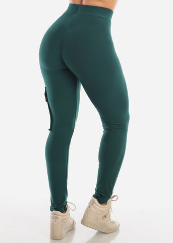 Pull On High Rise Dark Green Cargo Pants