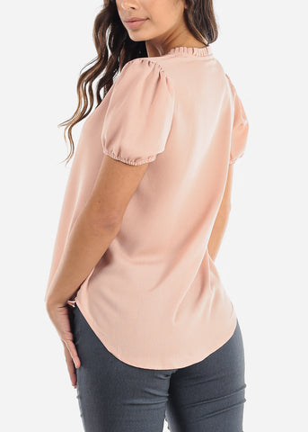 Ruffled Neckline Pink V-Neck Blouse