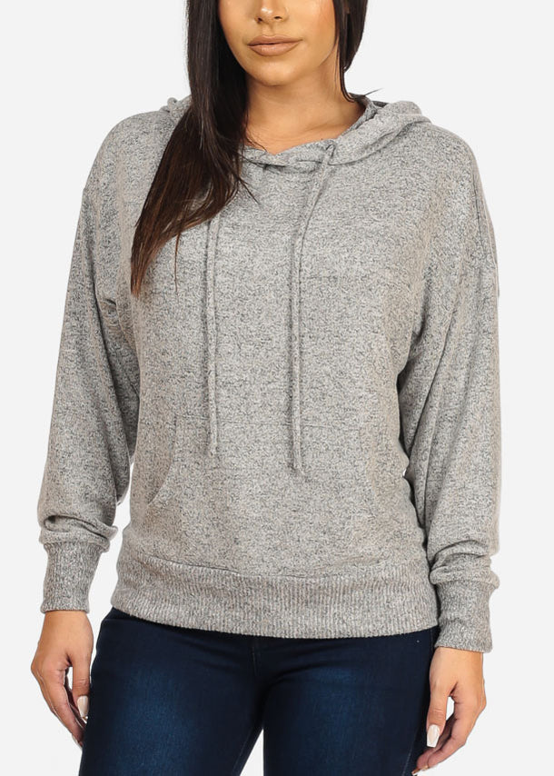 Casual Hooded Grey Sweatshirt