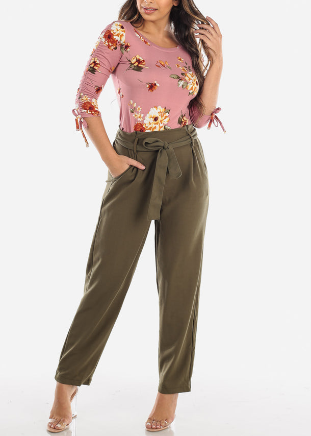 High Waist Straight Olive Pants with Belt