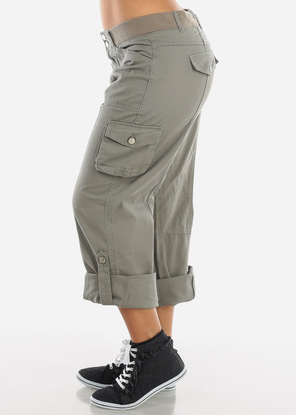 Roll Up Hem Olive Cargo Pants