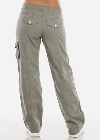 Image of Roll Up Hem Olive Cargo Pants 9148OLV
