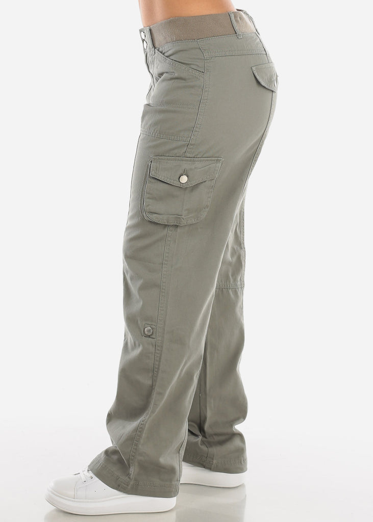 Roll Up Hem Olive Cargo Pants 9148OLV