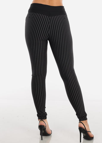 Image of Button Front Pinstripe Skinny Black Pants