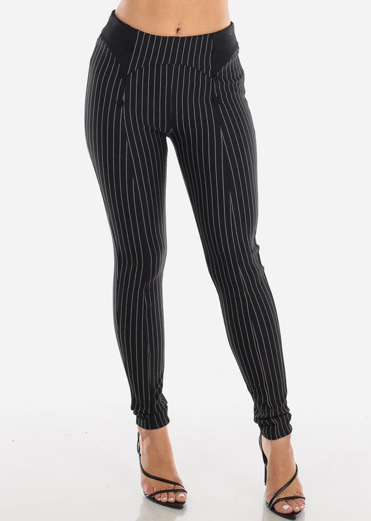 Button Front Pinstripe Skinny Black Pants