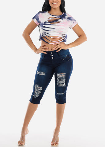 Dark Wash Levanta Cola Ripped Denim Capris