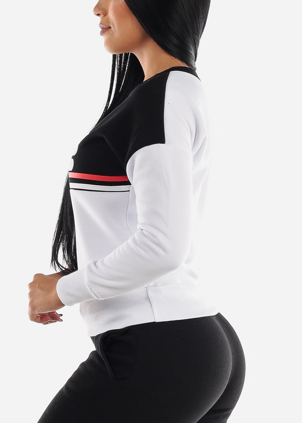 White & Black Long Sleeve Sweatshirt