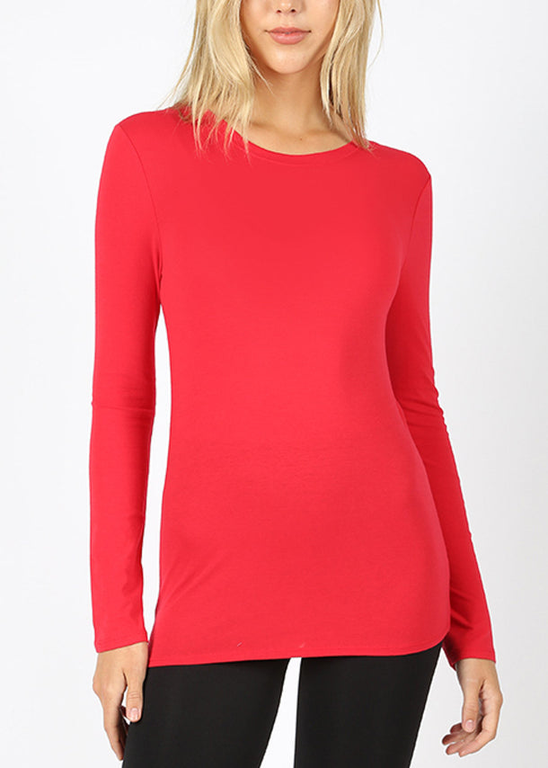 Basic Long Sleeve Red Top