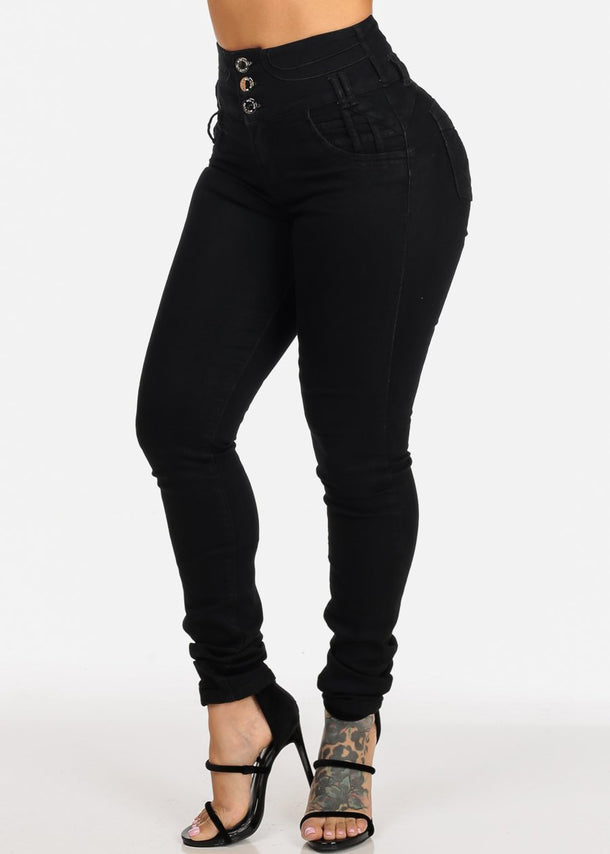 Black High Waisted Butt Lifting Jeans