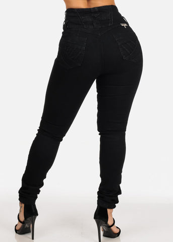 Sexy Black 3 Button Closure High Waisted Butt Lifting colombian Design Skinny Jeans