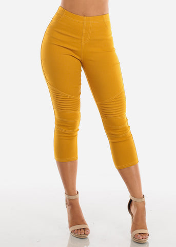 Image of Super Stretchy High  Rise Moto Style Mustard Jegging Capris For Women Ladies Junior On Sale 2019 New Miami Style Trends