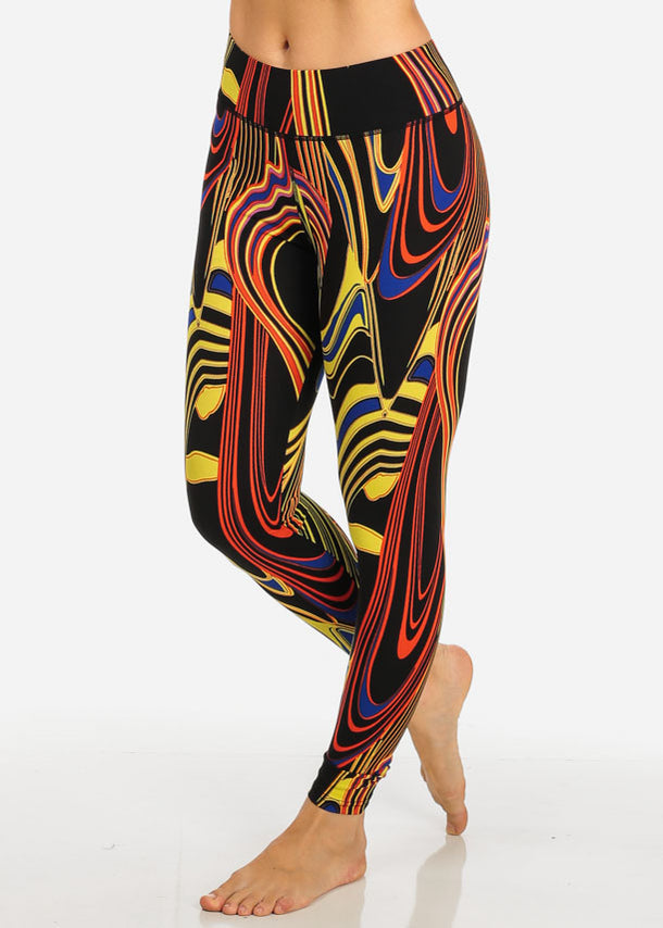 High Rise Printed  Leggings (Red)