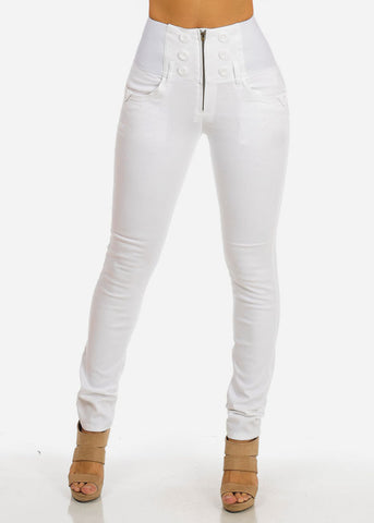 High Waisted Elastic Band Pants (White)
