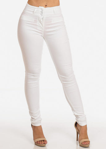 Image of Women's Junior Ladies Stylish Going Out Comfortable Stretchy 3 Button High Waisted Solid White Skinny Pants