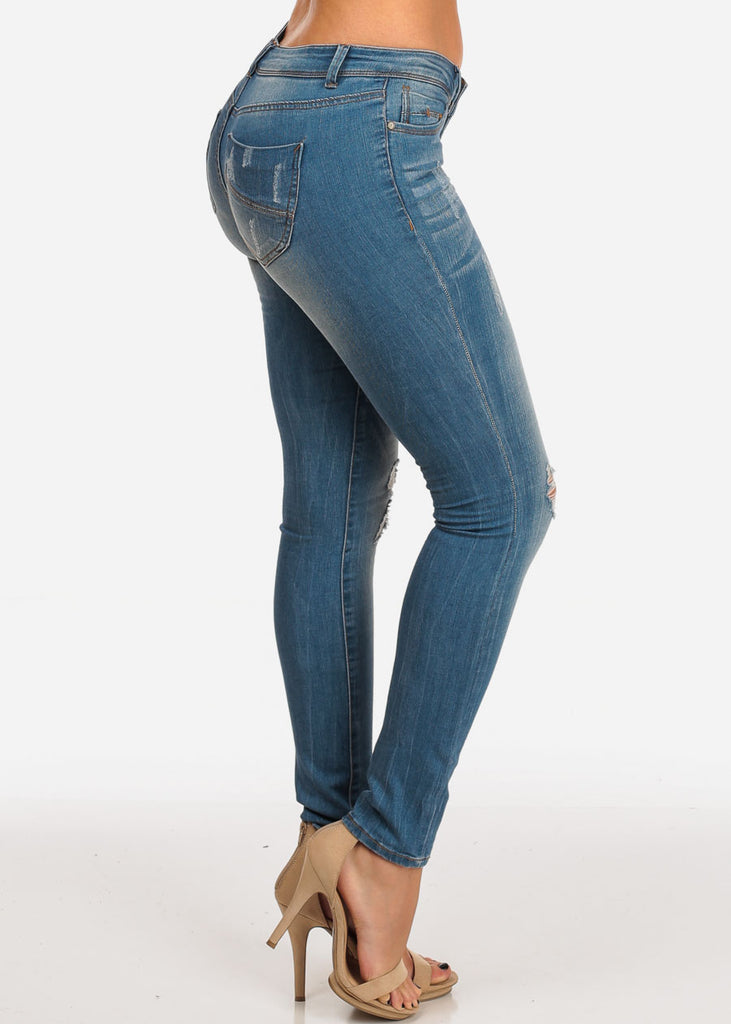 Stylish Trendy Mid Rise Med Wash 1 Button Distressed Skinny Jeans