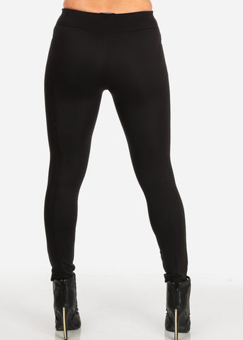 Image of High Rise Black Scuba Pants