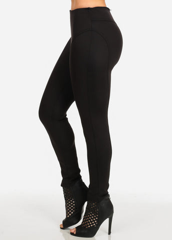 High Rise Black Scuba Pants