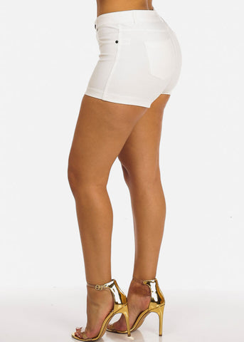 Image of White Casual Stretchy Shorty Shorts