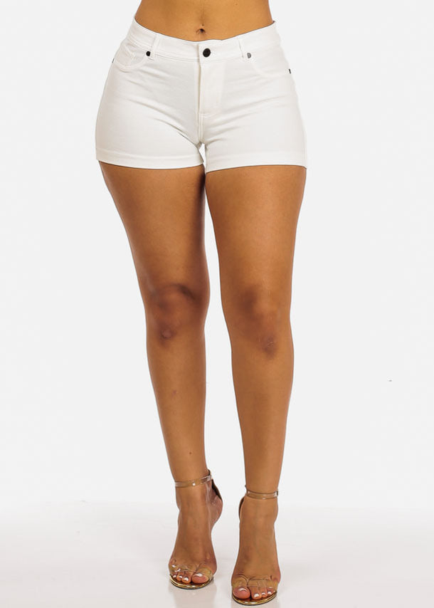 White Casual Stretchy Shorty Shorts