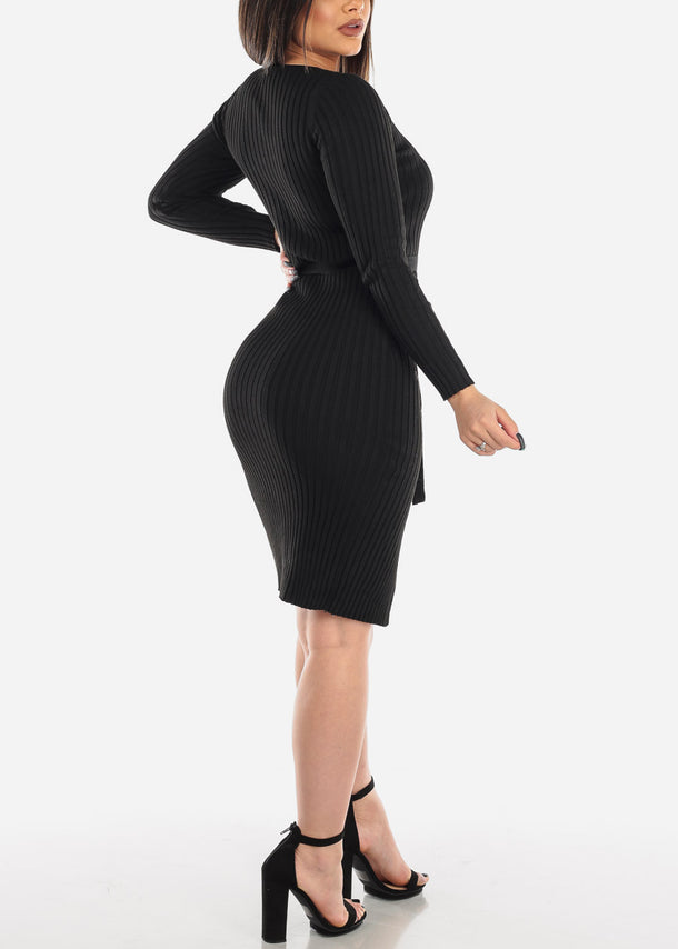Midi Dress Long Sleeve Ribbed Black