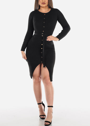 Image of Midi Dress Long Sleeve Ribbed Black