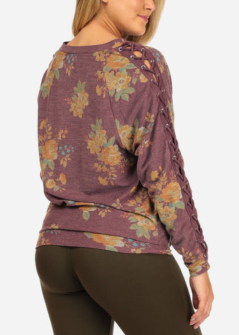 Women's Junior Cozy Lace Up Design Long Sleeve Burgundy Floral Print Pull Over Pullover Sweatshirt Sweater Top