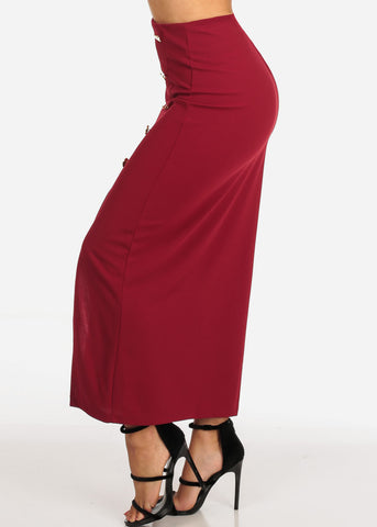 Image of Women's Junior Ladies Sexy Going Out Super Cute Dressy Gold Button Detail Burgundy Maxi Long Skirt