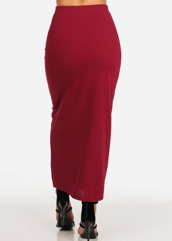 Women's Junior Ladies Sexy Going Out Super Cute Dressy Gold Button Detail Burgundy Maxi Long Skirt