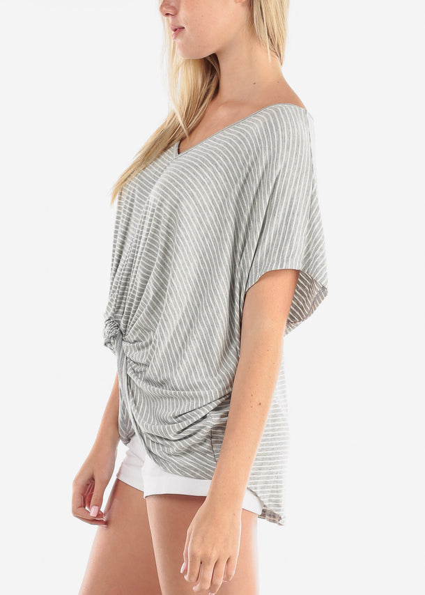 Cute High Low Grey Stripe Tunic Top
