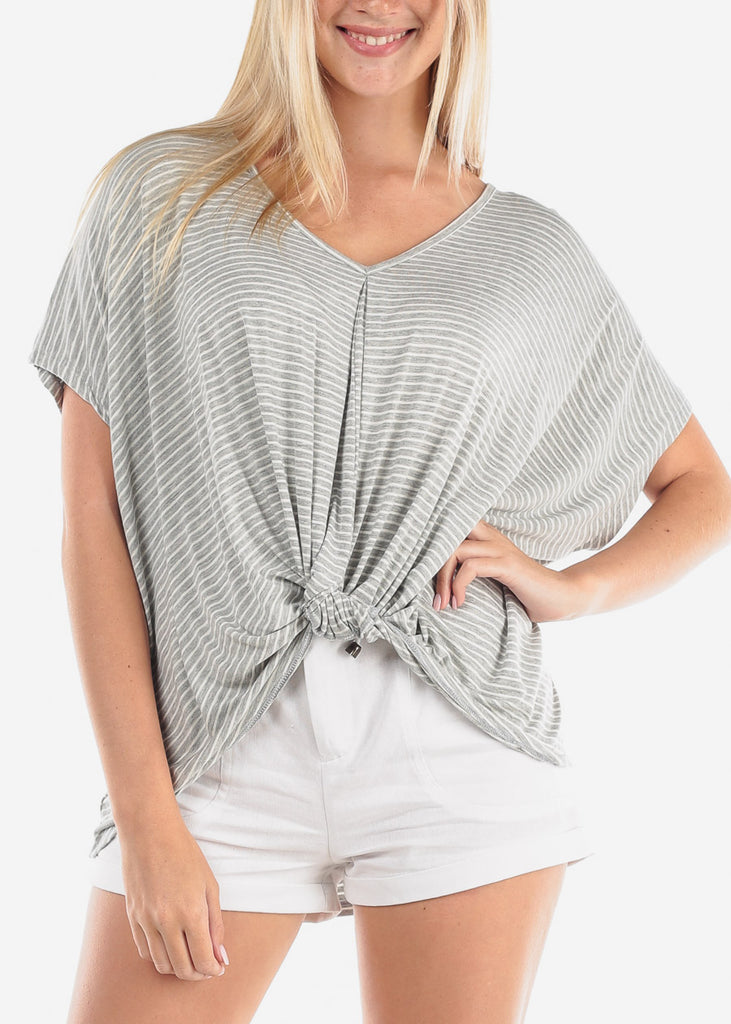 Women's Junior Ladies Cute Casual Trendy Super Soft Stripe Grey High Low Tunic Top With Front Knot Detail