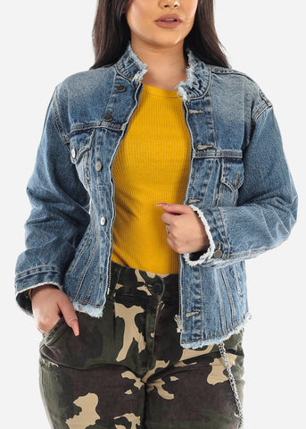 Image of Med Wash Zip Up & Button Up Jean Jacket