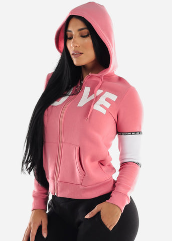 "Image of Full Zip Up Pink Hooded Hoodie ""Love"""