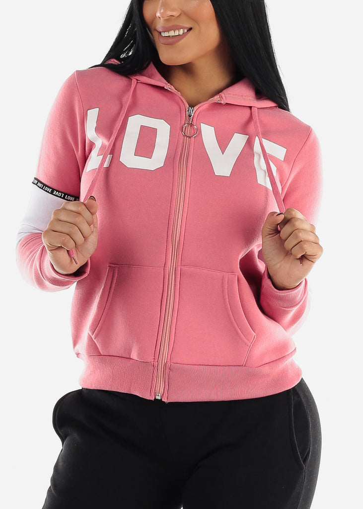 "Full Zip Up Pink Hooded Hoodie ""Love"""